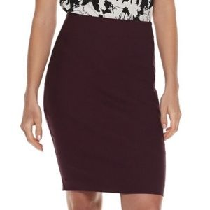 Elle Burgundy Pencil Skirt - Stretchy